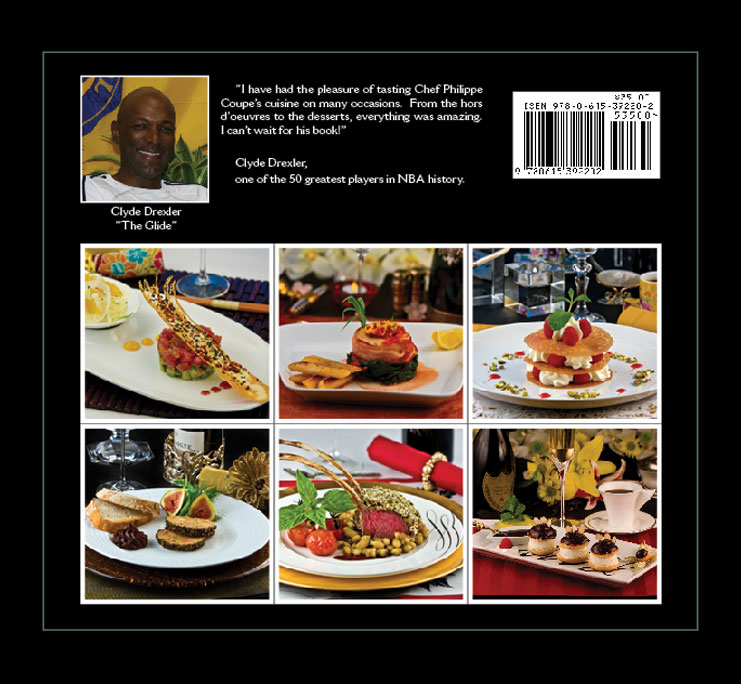 Cookbook Back Cover : Sinful delights by chef philippe coupe