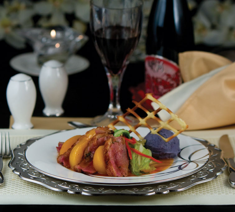 Duck Breast with Peach Sauce, Napa Cabbage and Purple Potato